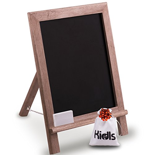Premium Wood Framed Rustic Standing Chalkboard 12 x 16. Non-Porous Vinyl Surface. For Home, Bars, Restaurants and Weddings - for the Vintage Look! FREE BONUS: Eraser and Canvas Storage Bag (Wood Chalkboard)