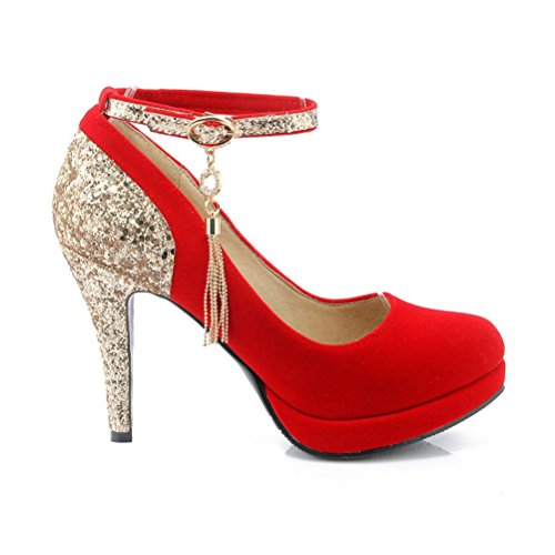 Platform Strap Elegant Pumps High Women's Stiletto Agodor Red Heels Party Shoes Glitter Closed Toe Ankle fwqW5gX