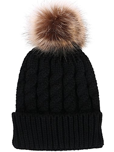 Women's Winter Soft Knitted Beanie Hat with Faux Fur Pom Pom,Black