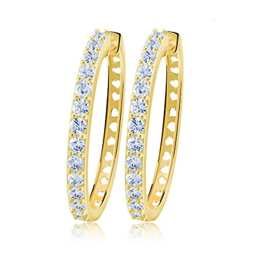 Triple Swarovski Earrings - uPrimor Gold Plated Big Hoop Earring 33mm Paved with Luxury AAA Cubic Zirconia for Ladies