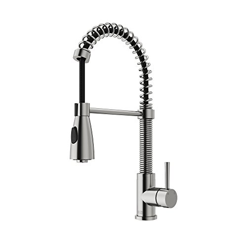VIGO VG02003ST Brandt Modern 19 Inch Single Handle Brass Kitchen Faucet with Pull Down Sprayer, Commercial Centerset Single Hole Kitchen Sink Faucet with 30 Inch Extendable Hose, Plated Seven Layer Stainless Steel Finish (Faucet Vigo Kitchen)