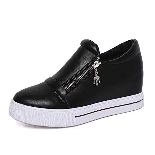 KHSKX-Inside High Short Boots Female Round Head Short Tube Side Zipper Display Thin White Shoes Women'S Shoes Thirty-nine