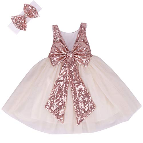 Cilucu Flower Girl Dress Baby Toddlers Sequin Dress Tutu Kids Party Dress Bridesmaid Wedding Gown Birthday Dress Rose Gold/Off White 7-8years
