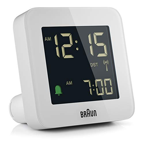 Braun Funkwecker für Mitteleuropa (MEZ) mit Snooze-Funktion, Negativ-LCD-Display, Schnelleinstellung, Alarmton im Crescendo, weiß, Modell BC09W-DCF