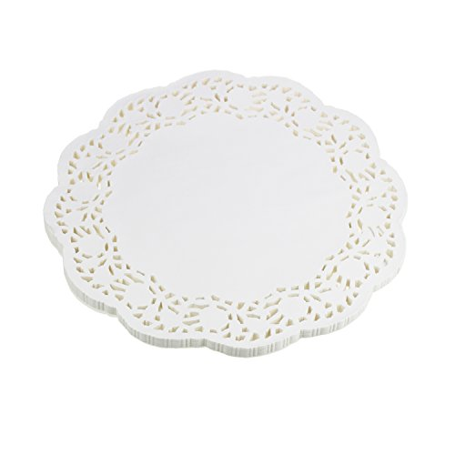 LJY 100 Pieces White Lace Round Paper Doilies Cake Packaging Pads Wedding Tableware Decoration (12 -