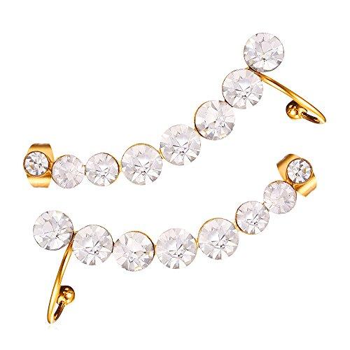 U7 Fashion Clear Birthstone Crystal 8 Row Ear Cuff Earrin...