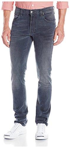 Nudie Jeans Men's Tape Ted Tapered Fit Jean, Black/Blue Love, 28/34 US