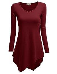 Doublju Womens Long Sleeve V-Neck Tunic Handkerchief Longline Tunic T-Shirt Dress