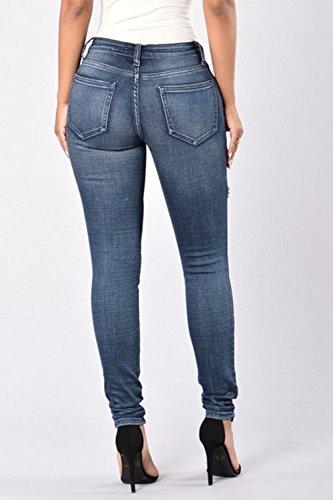 Occasionale Donne Magre Zojuyozio Strappato Blu In Pantaloni Stretti Forma Buco Jeans rqI5n5dw