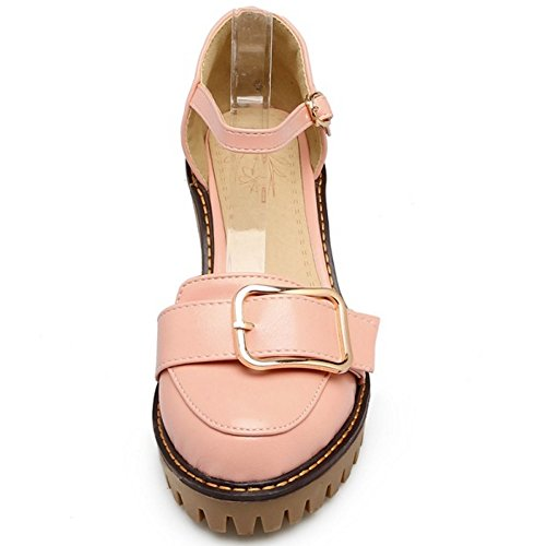 Women Platform Closed Sandals Ankle Shoes COOLCEPT Strap Pink Block Toe Fashion Heel CBn7qT6