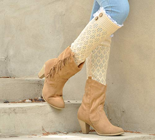 White Off Boot sock button Down Women legwarmer warmer slouchy with lace trim, leg warmer white-off milk