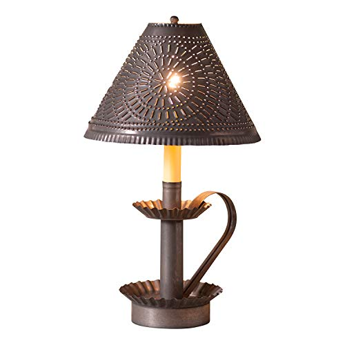 (Irvins Tinware Plantation Candlestick Lamp with Chisel Shade in Blackened)