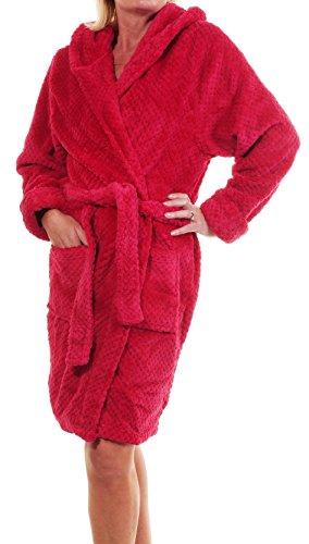 toppa Robe GSM a vestaglia ginocchio al Super lunghezza morbido 320 rosso Fleece Ladies tasche lampone Waffle lusso 40