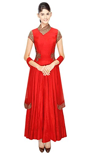 Mishka Women's Gown Style Anarkali Churidar Kameez With Pretty Heavy With Embroidery Small - 34