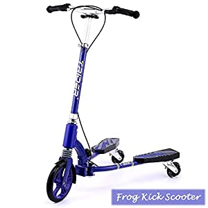 Rampmu Push Y Flicker Fliker Scissors Tri Scooter, 3 Wheels Chinese Folding Frog Kick Carving Scooters for Kids Boys (US STOCK)
