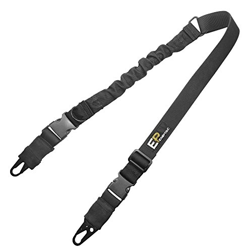 Emptac ESt1 2 Point Rifle Sling, Adjustable Black Gun Sling with Universal Metal Hooks for Shooting, Hunting and Outdoors (Best Single Point Sling)