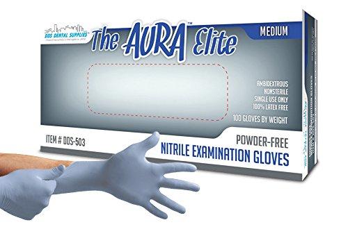 Dds Aura Elite Powder Free Nitrile Premium Flex Exam Gloves  Periwinkle  Medium   100 Bx