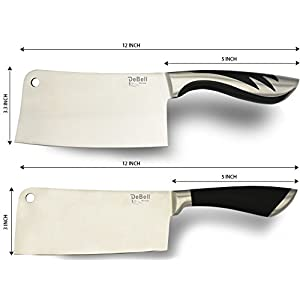 DeBell 2-Piece Stainless-Steel Chopper-Cleaver-Butcher-Bone Knife by Color Pack, 7 Inch Blade for Home Kitchen or Restaurant