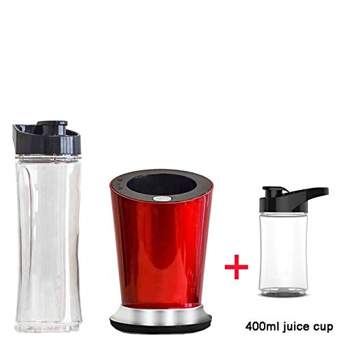 300W Portable Personal Mini Blender Food Processor Milkshakes Mixer Juicer 600ml Bottle 400ml Cup & 100ml grinder,Extra 400ml cup,C,UK Plug