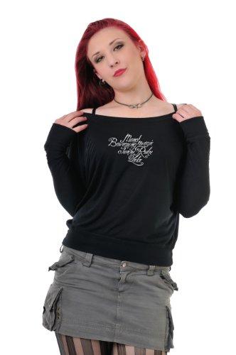 Top Tunica colletto con a Bianco da lunga allentata manica Lyric Over Ladies stampa 3 maniche con barca Sweater 4 Cosma Camicia pipistrello Nero a qwR8CO