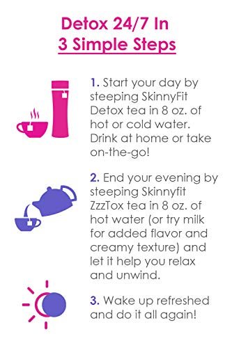 SkinnyFit Detox and ZzzTox 24/7 Bundle 56 Servings: Cleanse with All-Natural, Laxative-Free, Green Tea Leaves, Chamomile and Lavender. Gluten-Free - Slimming Way to Release Toxins and Reduce Bloating by SkinnyFit (Image #2)