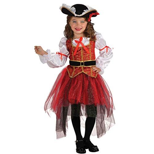 (Amosfun 4pcs Kids Pirate Costume Buccanner Princess Cosplay Outfit Hat Dress Skirt Belt Set for Halloween Party Masquerade Performance XL)