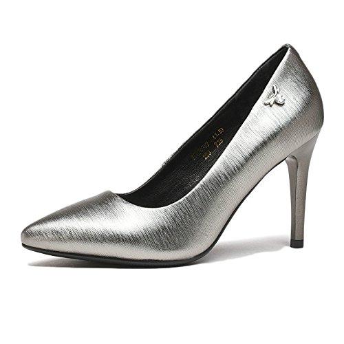 Pelle Scarpe Nero da Party Scarpe Donna 39 Corte 6 5 Lavoro Sexy Silver in Sposa EU 8 Nightclub Alti Moda 8 Tacchi UK pxdx70A