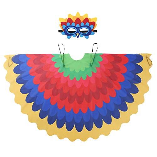 Freebily Kids Girls Boys Fairy Bird Costumes Halloween Owl Peacock Wings with Mask Feathered Party Favors Dress Up Type E One Size -
