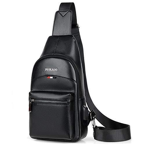 Chest Bag Home Casual Hommes en Cuir PU Poitrine Sac Multifonction Sports de Plein air Sac à bandoulière Mode Épaule Messenger Sac à Dos (Noir)