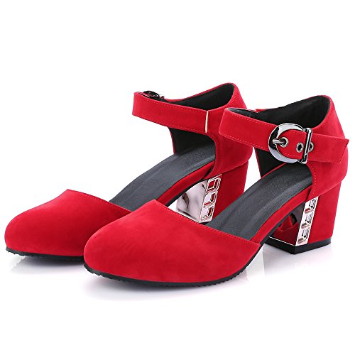 Sweet KemeKiss Pumps Heel Mid Ankle Shoes Women Strap Red School Hw54wqRv