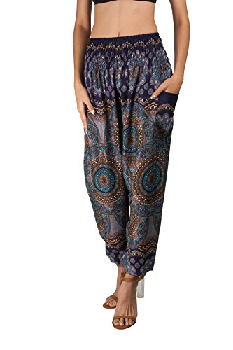 JOOP JOOP Bohemian Tapered Elephant Harem Loose Yoga Travel Lounge Pants (S/M, Midnight)