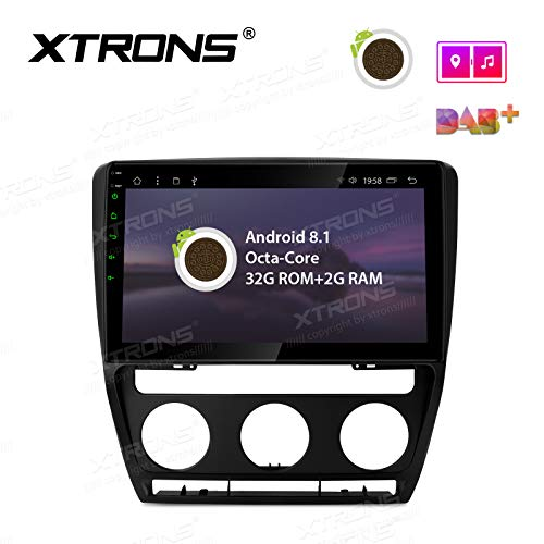 (XTRONS 10.1 inch Touch Display Android 8.1 Car Stereo Radio GPS Navigator with Octa Core 32G ROM USB Bluetooth 5.0 Supports 4K Video WiFi DVR OBD Backup Camera for Skoda Octavia Yeti Laura)