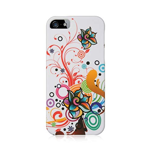 - Insten Autumn Flower Rubberized Hard Snap-in Case Cover Compatible with Apple iPhone 5/5S, White/Orange