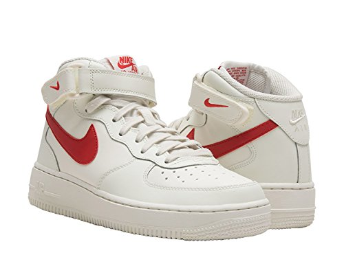 Nike Boy's Air Force 1 Mid Basketball Shoe Sail/University Red Size 5.5Y