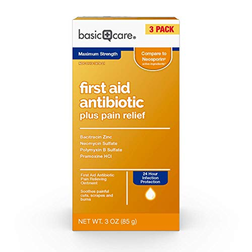 Basic Care Maximum Strength First Aid Triple Antibiotic Pain Relieving Ointment, 3 Ounces