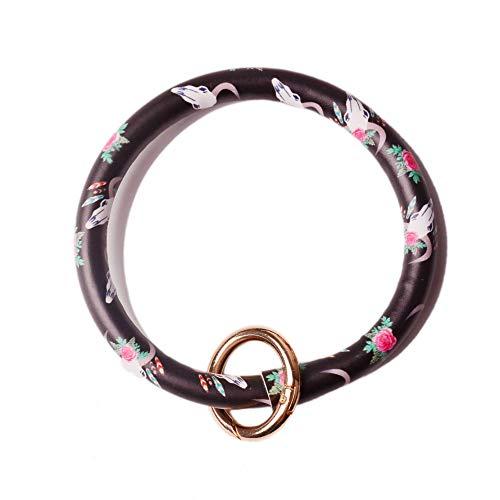L&N Rainbery PU Leather O Key Chain Circle Tassel Wristlet Keychain for Women Girls (Cowskull) ()