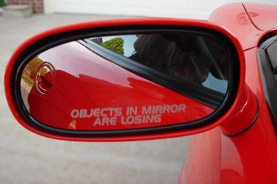 Roush Racing Mustang - OBJECTS IN MIRROR ARE LOSING decal sticker ford mustang racing saleen gt cobra roush muscle f150 f250 car truck focus taurus probe ranger fiesta explorer suv fusion edge escape
