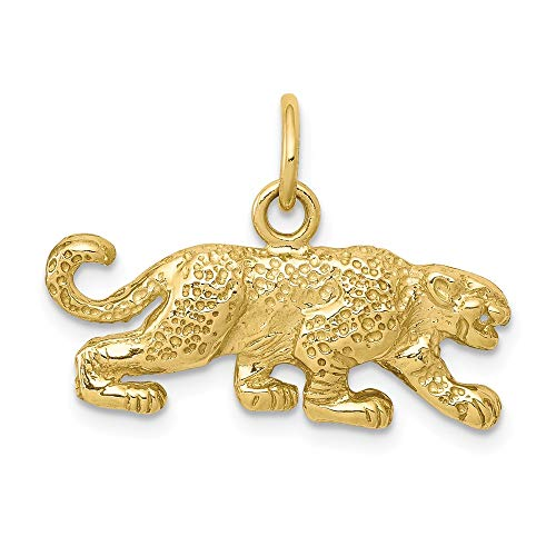 10k Yellow Gold Solid Small Leopard Pendant Charm Necklace Animal Lion Tiger Fine Jewelry Gifts For Women For Her