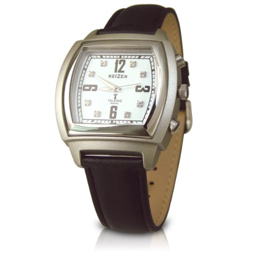 REIZEN Talking Atomic Watch-Square Face-Chrome-Leather Band