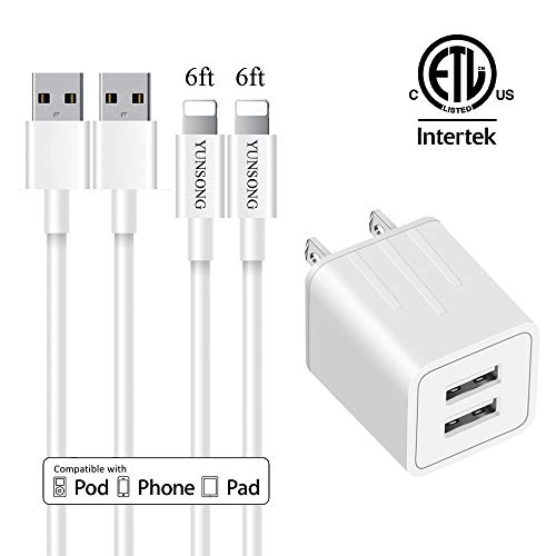 YUNSONGUSB Wall Charger Dual Port Plug Adapter(ETL Listed) Fast Charging Cable 2Pack 6feet High Speed Data Sync Transfer Cord Phone Connector Compatible with Phone Pad Tablet
