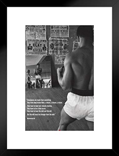 Pyramid America Muhammad Ali Gym Quote Boxing Sports Matted Framed Poster 20x26 inch ()