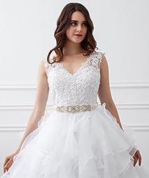 Kittybridal Women\'s V Neck Organza Ruffles Ball Gown Wedding Dresses Bride Dress 2017 Ivory US 12