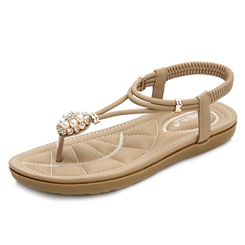 CARETOO Ladies Flat Sandals Shoes, Women Fashion T Strap Summer Flip Flops Sandal, Rhinestone Bling Backstrap Beach Sandal -