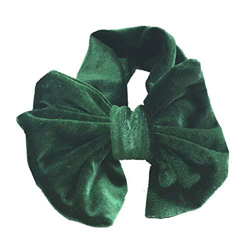 Cute Baby Girls Bunny Kids Turban Knot Rabbit Headband Bow Hair bands Head wrap (Color - dark green) -
