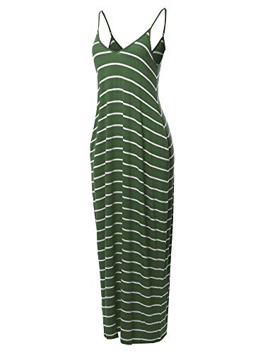 (Casual Adjustable Strap Side Pockets Stripe Loose Maxi Dress Army Green S)