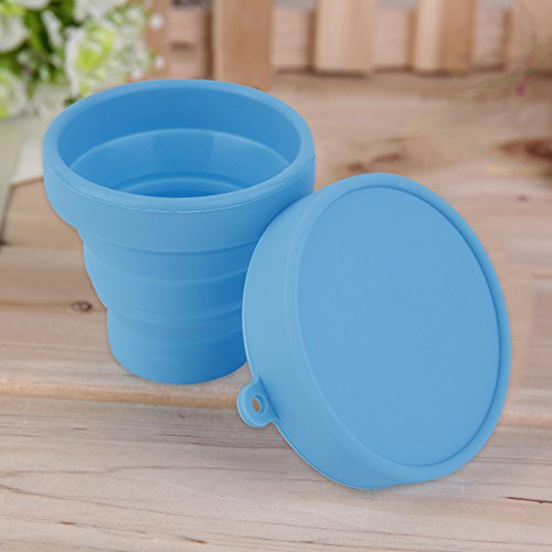 Portable Silicone Retractable Folding Water Cup Outdoor Travel Telescopic Collapsible Soft Drinking Cup Blue