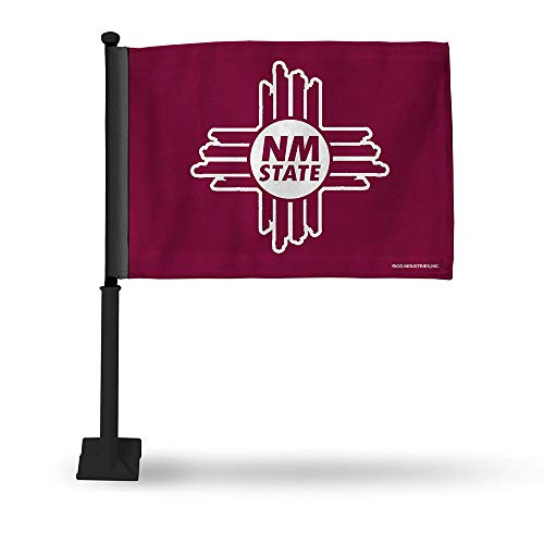 NCAA New Mexico State Car Flag with Black Pole, 8 x 1, Logo Color -