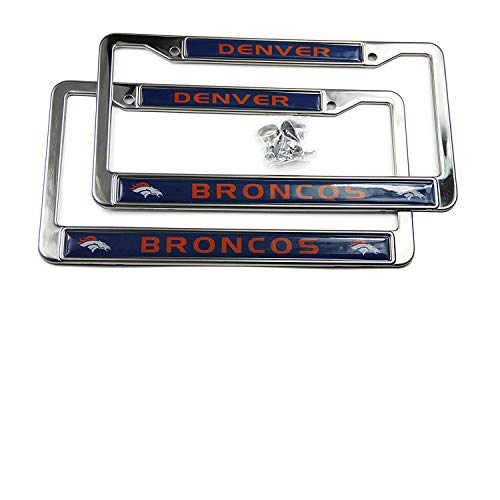 (MT-Sports Store Football Team 2 Pcs 4 Holes Car Licenses Plate Frames Stainless Steel (Denver Broncos))