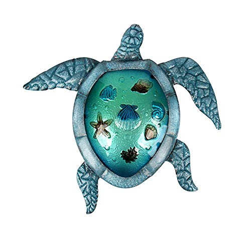 (Liffy Turtle Wall Decor Outdoor Sea Metal Art Hanging Decorative Glass Sculpture Blue)