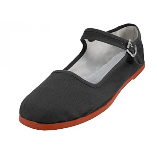 Shoes8teen Womens Cotton China Doll Mary Jane Shoes Ballerina Ballet Flats Shoes 11 Colors 9, 114 Black ()